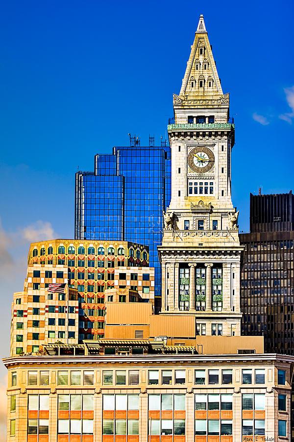 Boston Skyline Photograph - Historic Custom House Clock Tower - Boston Skyline by Mark E Tisdale
