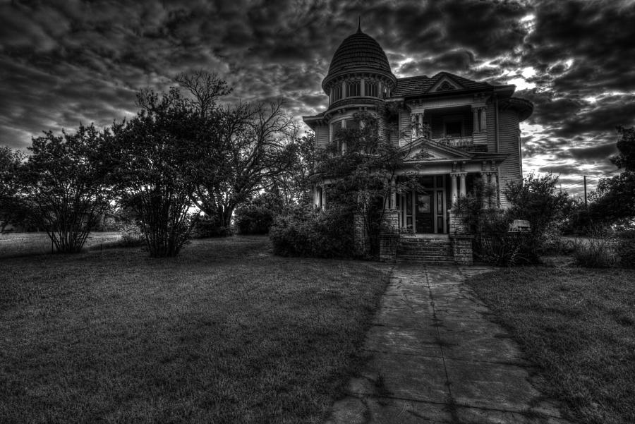 Black And White Historic Fort Worth Home Photograph