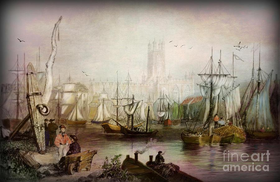 Historic Gloucester - Uk Circa 1840 Digital Art