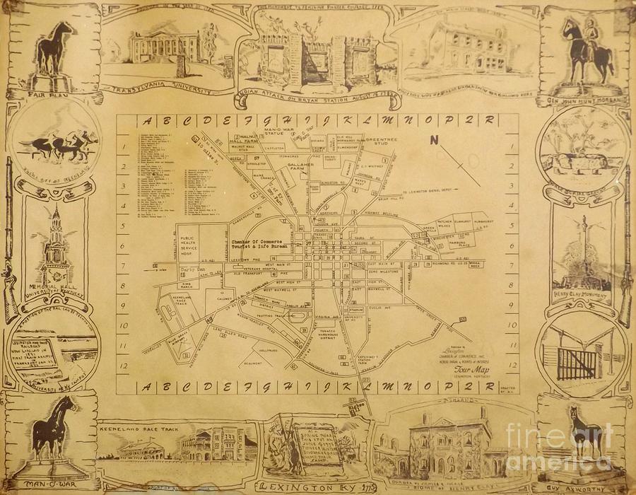 Historic Map Of Lexington Kentucky Drawing