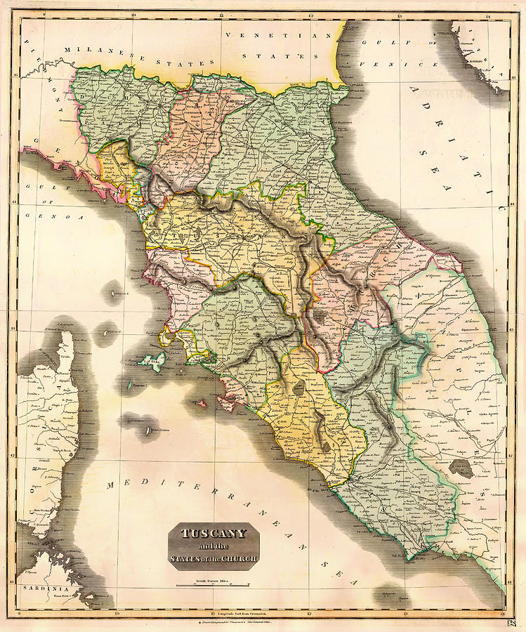 Map Drawing - Historic Map Of Tuscany 1814 by Mountain Dreams