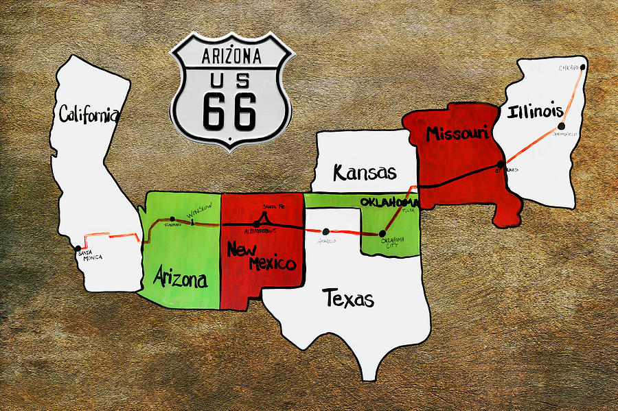 Historic Photograph - Historic Route 66 - The Mother Road by Christine Till