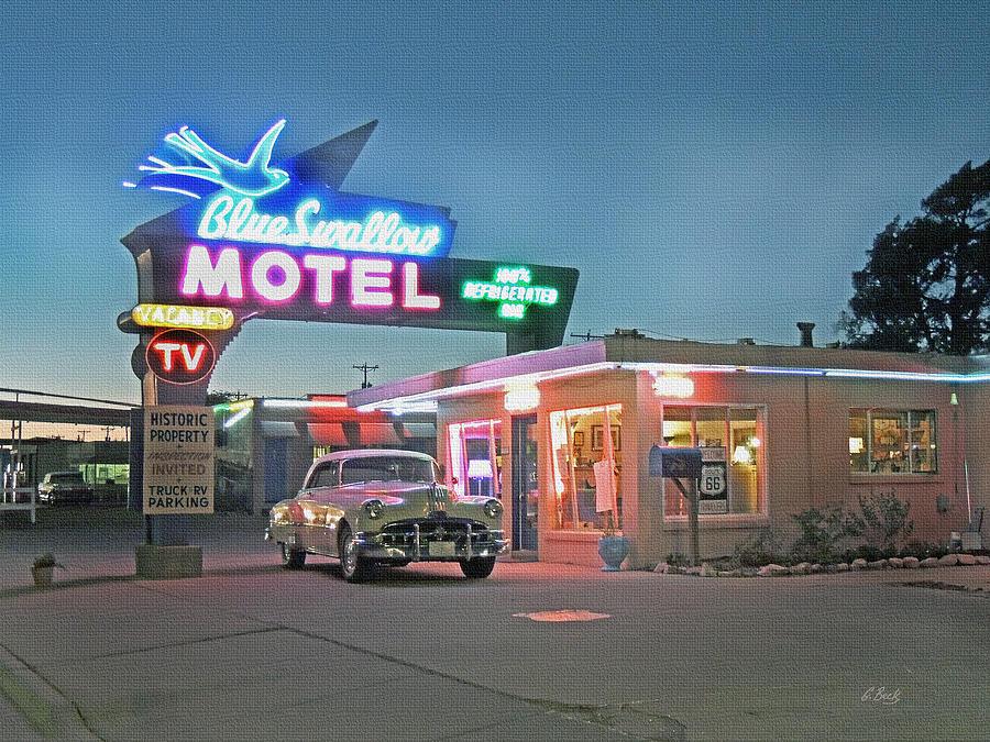 Historic Photograph - Historic Rt. 66 Blue Swallow Motel by Gordon Beck
