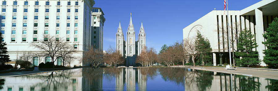 Color Image Photograph - Historic Temple And Square In Salt Lake by Panoramic Images