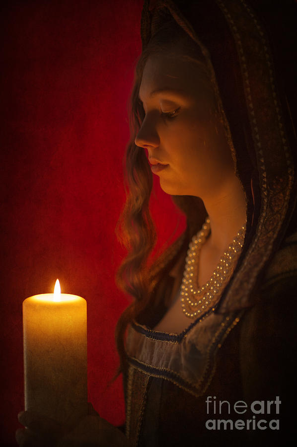 Woman Photograph - Historical Woman Holding A Candle by Lee Avison