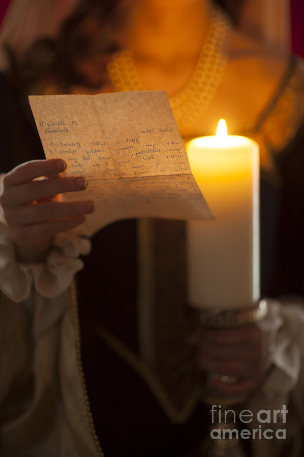 Woman Photograph - Historical Woman Reading A Letter By Candle Light by Lee Avison