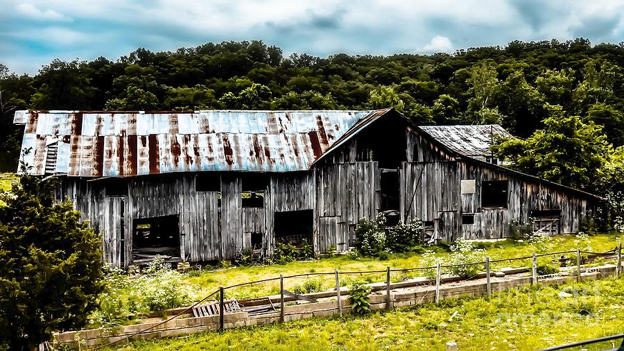 Barn Landscape Photograph - History Left Behind  Old Barn by Peggy Franz