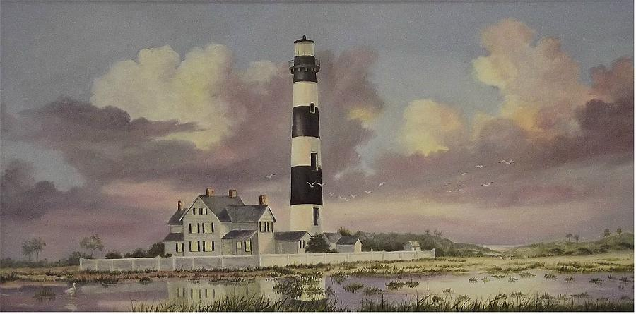 Lighthouse Painting - History Of Morris Lighthouse by Wanda Dansereau