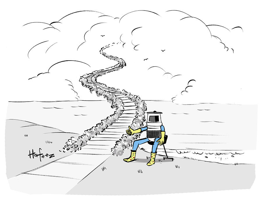 Cartoon Drawing - Hitchhiking To Heaven by Kaamran Hafeez