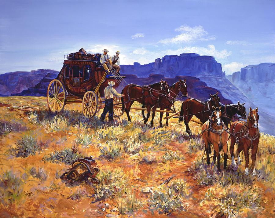 Wells Fargo Stagecoach Digital Art by Glenn Holbrook  |Large Western Stagecoach Art