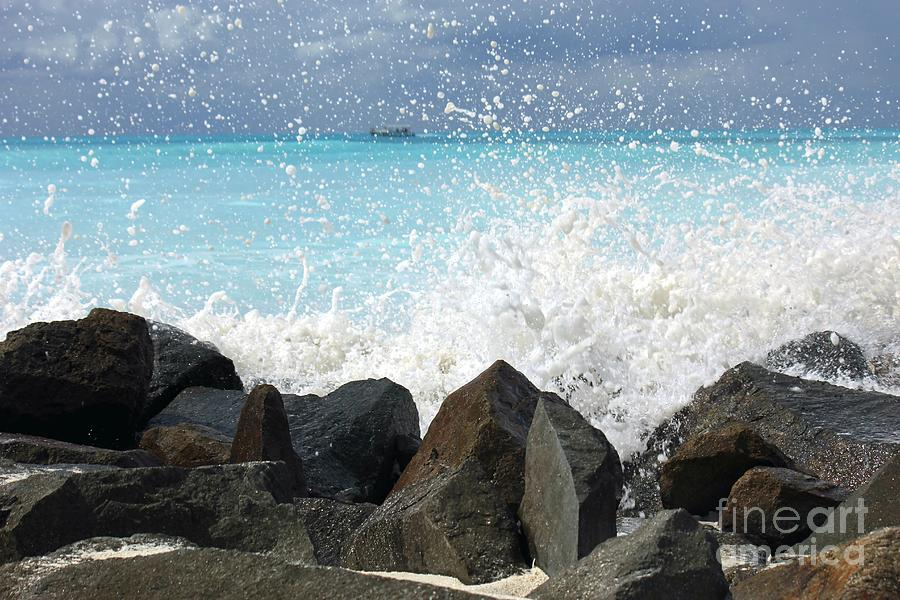 Ocean Photograph - Hitting The Rocks by Sophie Vigneault