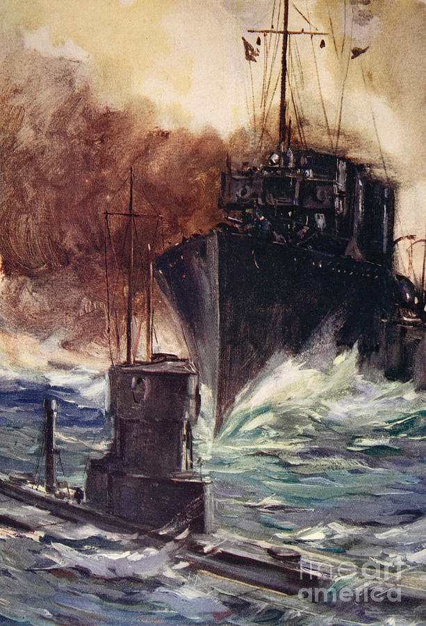 Hms Badger Ramming A German Submarine Painting By Cyrus Cuneo
