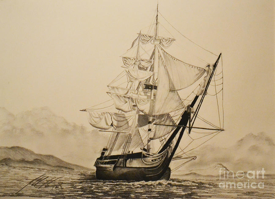 Hms Surprise Drawing - Hms Surprise by John Huntsman