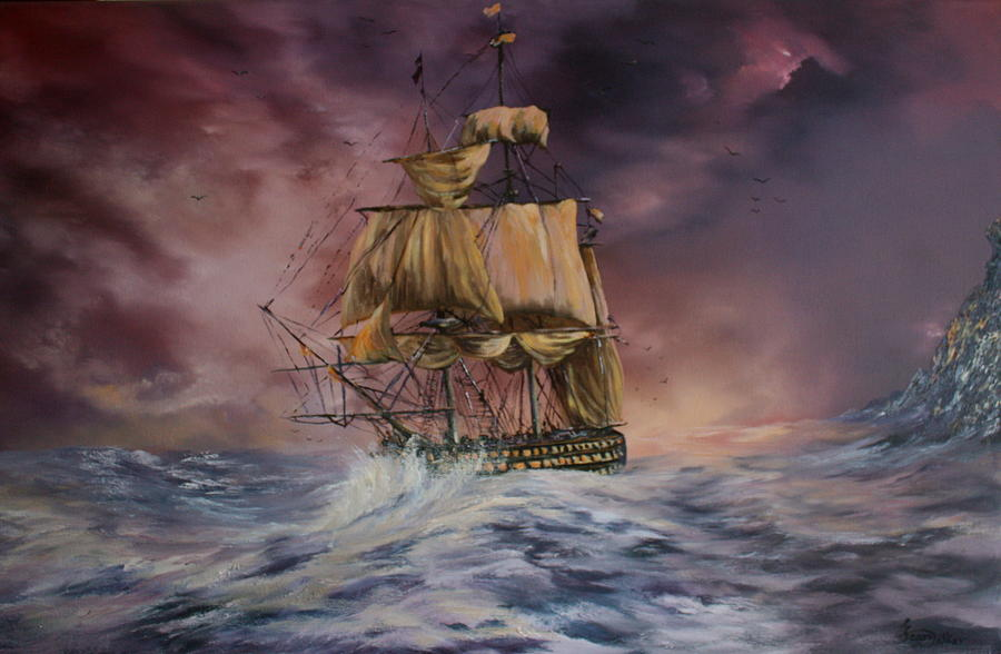 Galleons Painting - H.m.s Victory by Jean Walker