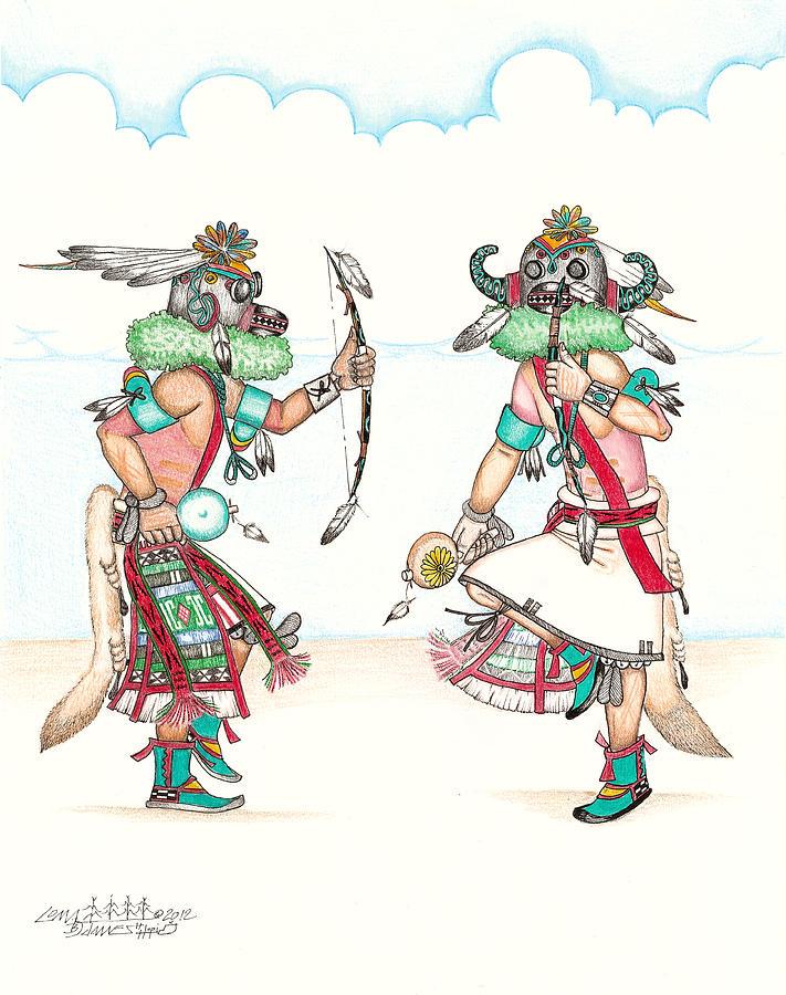Ho-ote Kachinas Mixed Media by Dalton James  Hopi Drawings