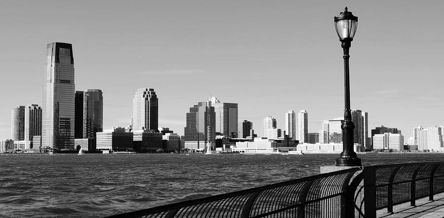 Hoboken New Jersey Skyline In Black And White Photograph by David Lobos