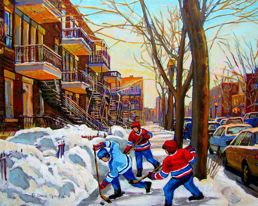 Montreal Painting - Hockey Art - Paintings Of Verdun- Montreal Street Scenes In Winter by Carole Spandau