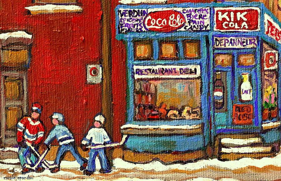Corner Store Painting - Hockey Game At The Corner Kik Cola Depanneur  Resto Deli  - Verdun Winter Montreal Street Scene  by Carole Spandau