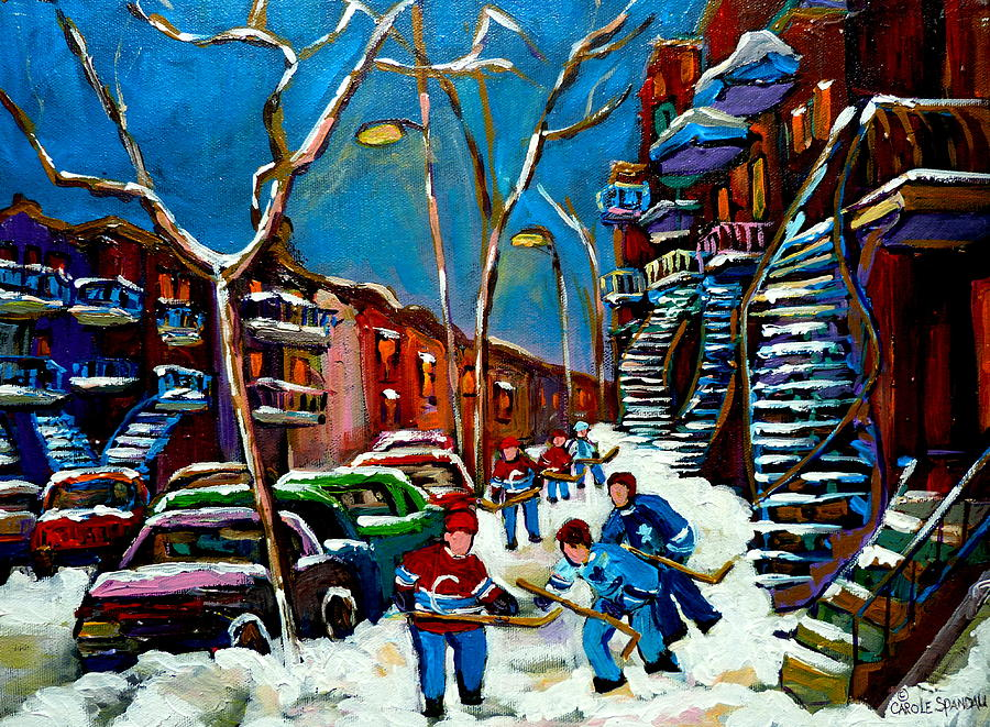 Winter Painting - Hockey Game On De Bullion Montreal City Scene by Carole Spandau