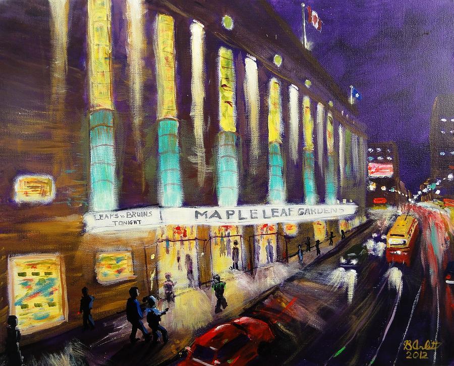Hockey Painting - Hockey Night- Maple Leaf Gardens by Brent Arlitt