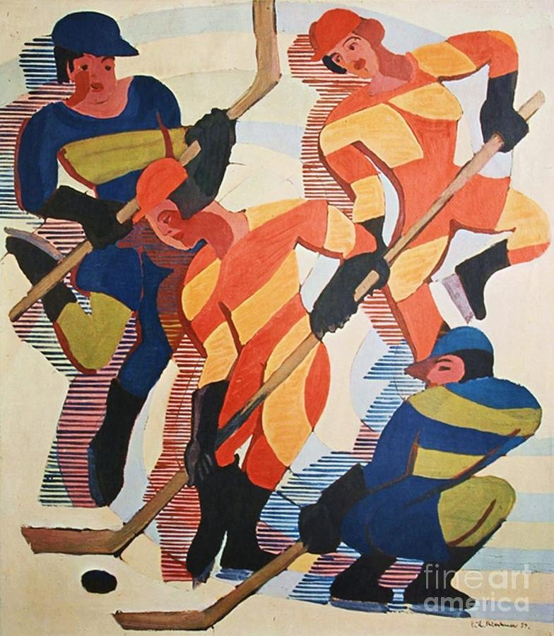 Pd Painting - Hockey  Players by Pg Reproductions