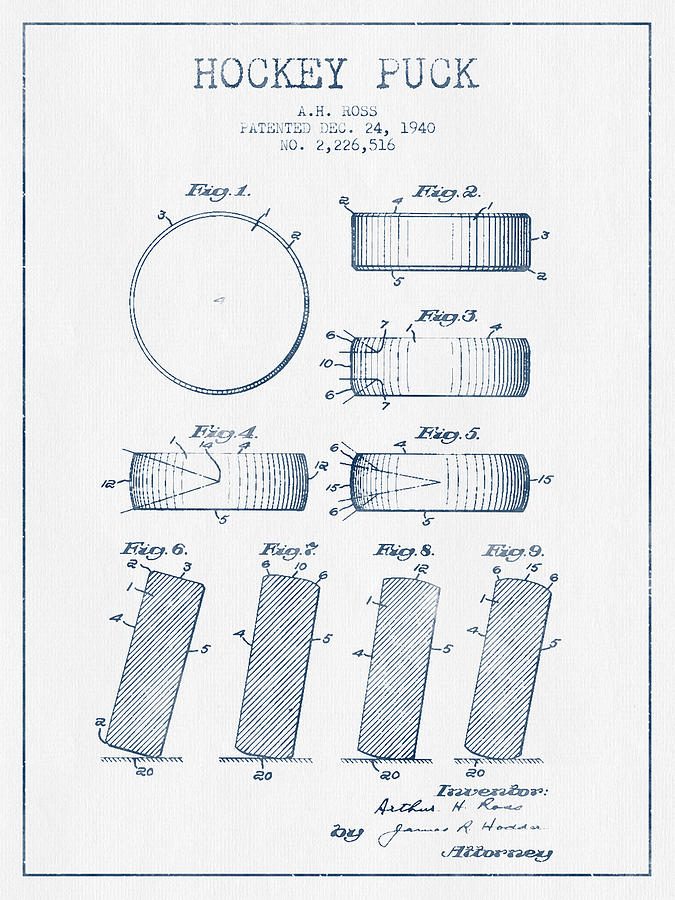 Hockey Digital Art - Hockey Puck Patent Drawing From 1940 - Blue Ink by Aged Pixel