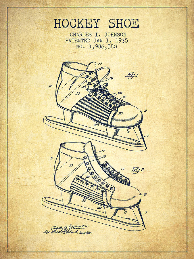66c747fe4d34d Hockey Shoe Patent Drawing From 1935 - Vintage by Aged Pixel