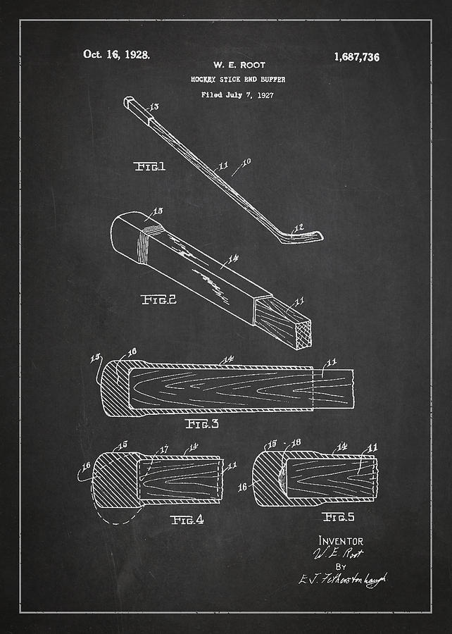 Hockey Stick And Buffer Patent Drawing From 1927 Digital Art