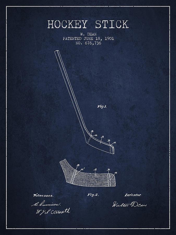 Hockey Stick Patent Drawing From 1901 Digital Art