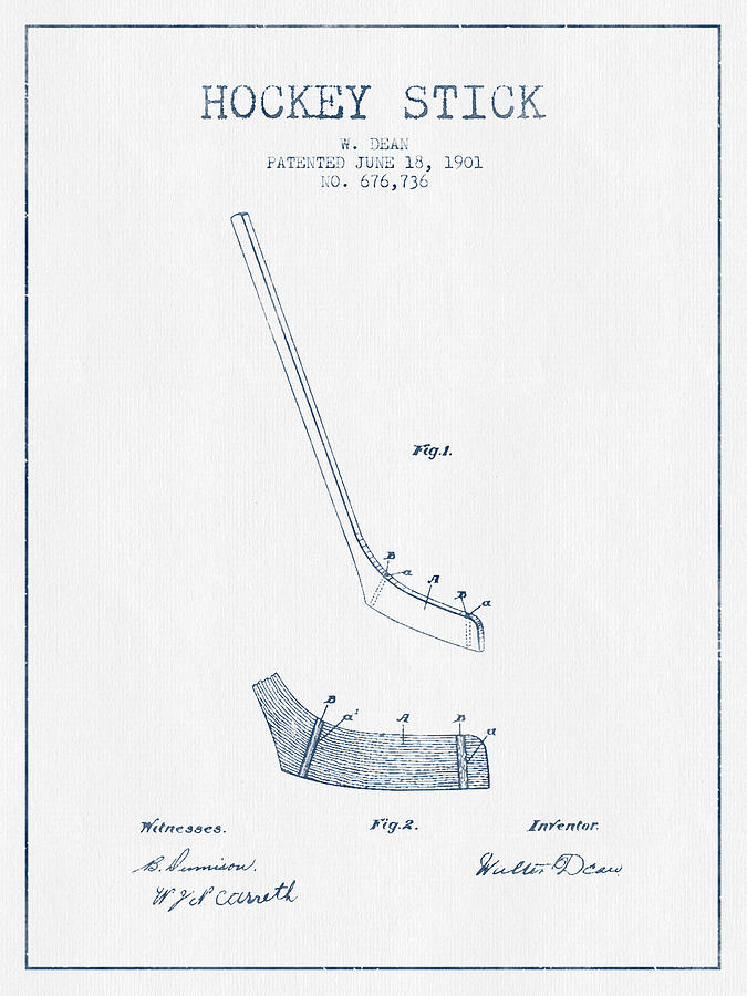 Hockey Stick Patent Drawing From 1901 - Blue Ink Digital Art