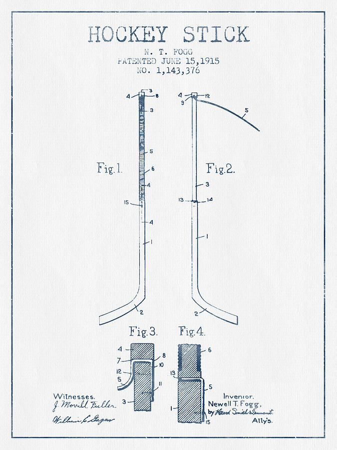 Hockey Stick Patent Drawing From 1915 - Blue Ink Digital Art