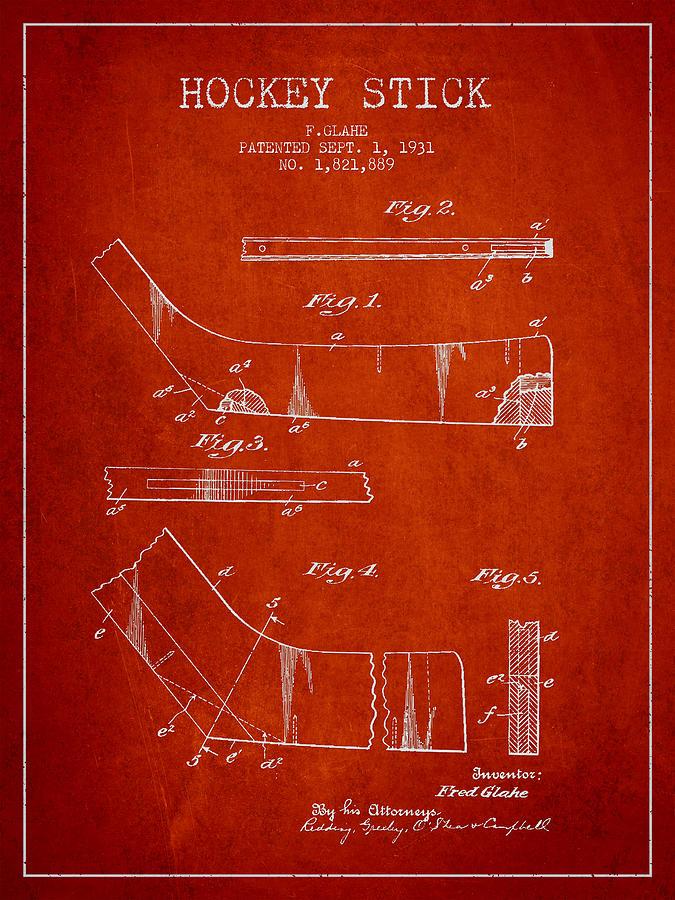 Hockey Stick Patent Drawing From 1931 Digital Art