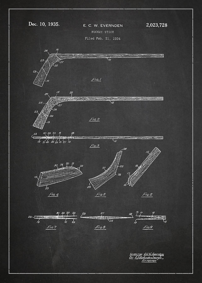 Hockey Stick Patent Drawing From 1934 Digital Art