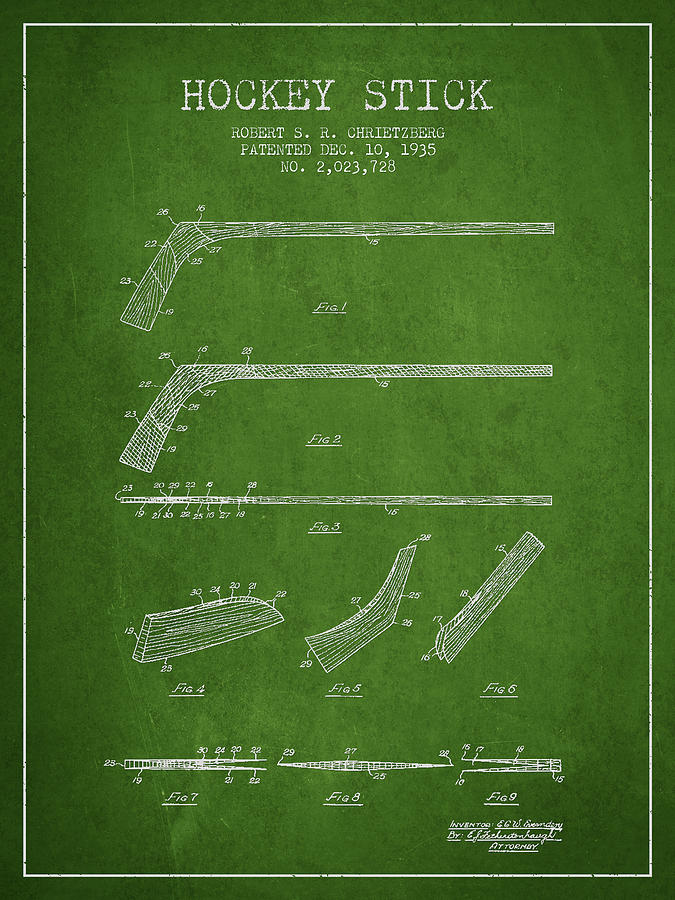 Hockey Digital Art - Hockey Stick Patent Drawing From 1935 by Aged Pixel