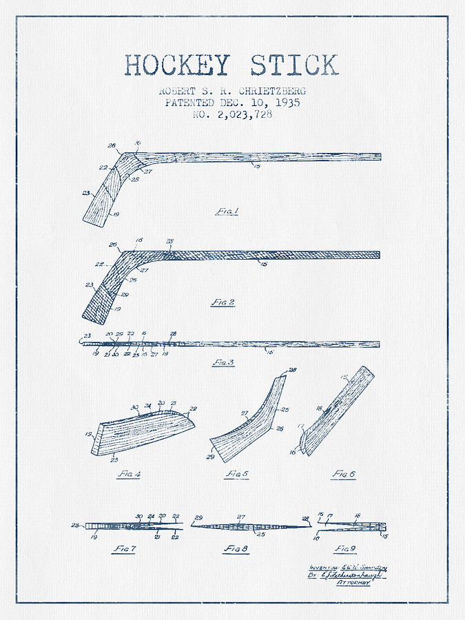 Hockey Stick Patent Drawing From 1935 - Blue Ink Digital Art