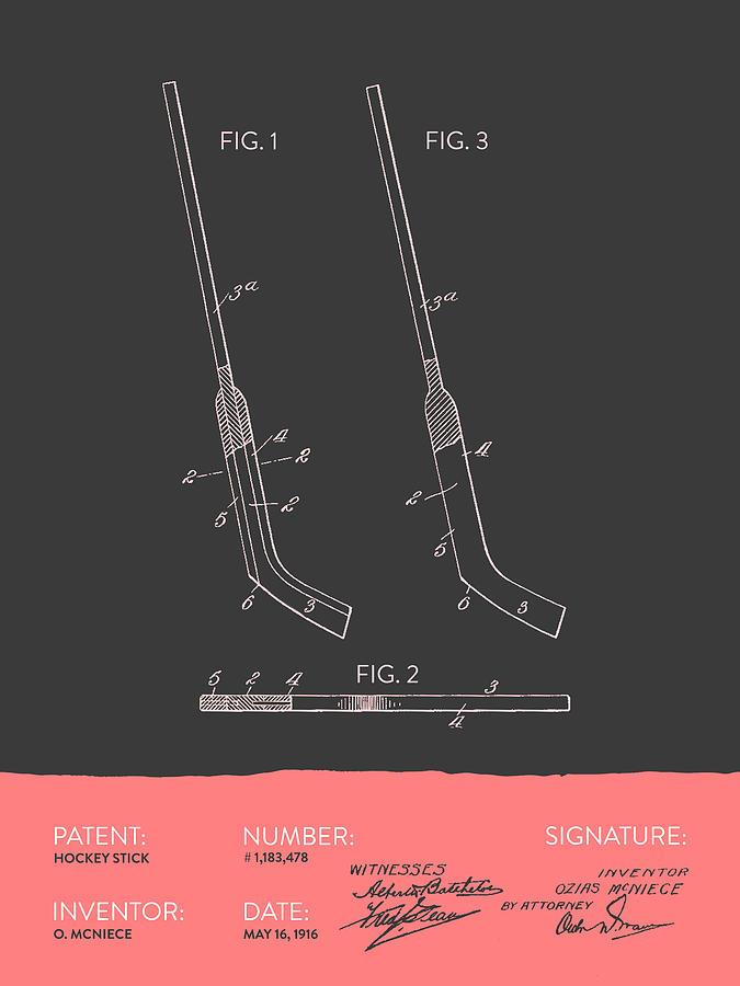 Hockey Stick Patent From 1916 - Gray Salmon Digital Art