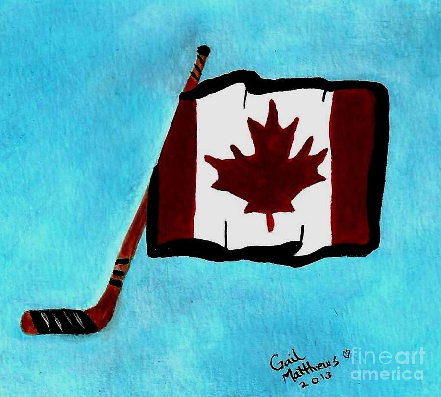 Hockey Stick With Canadian Flag By Gail Matthews