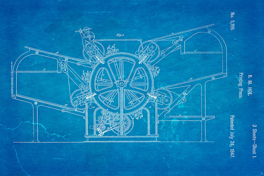 Vintage 1847 Howe HOE PRINTING PRESS US PATENT Art Print READY TO FRAME !
