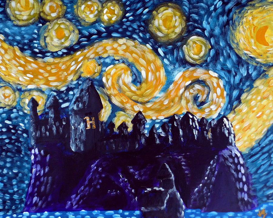 Hogwarts Painting - Hogwarts Starry Night by Jera Sky
