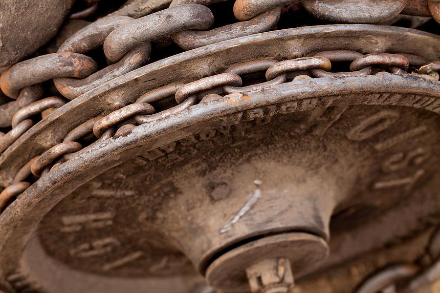 Chain Photograph - Hoist Wheel by Fran Riley