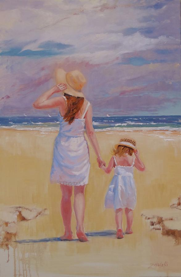 The Beach Painting - Hold On by Laura Lee Zanghetti