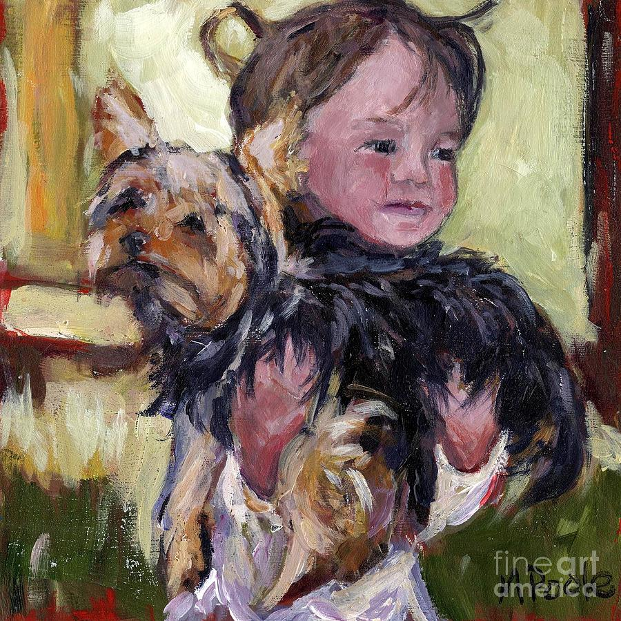 Yorkie Painting - Hold Tight by Molly Poole