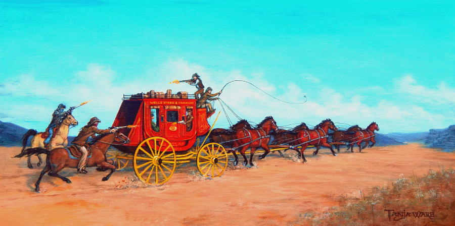 Old West Painting - Hold Up by Tanja Ware