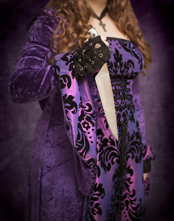 Gothic Photograph - Holding Knife by Amanda Elwell