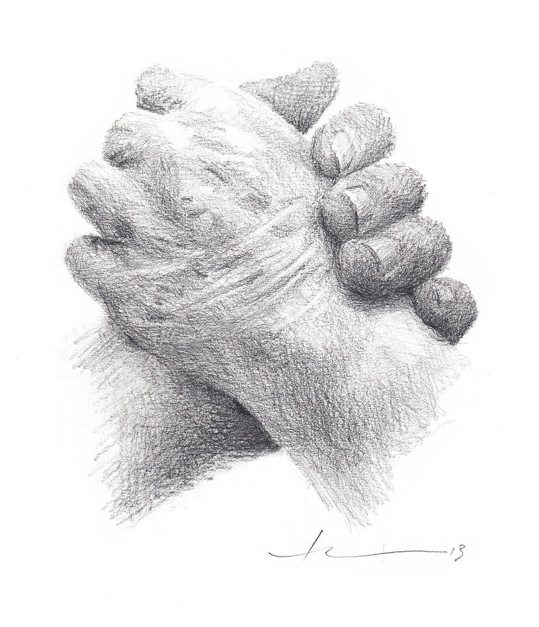 Holding Moms Hand Pencil Portrait Drawing by Mike Theuer