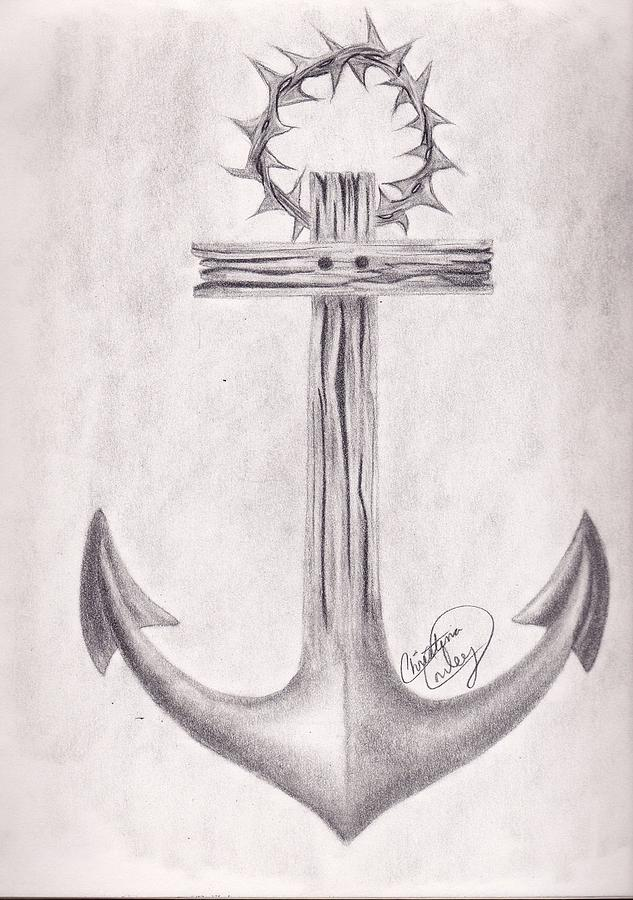 Anchor Drawing - Holding On by Christina Conley
