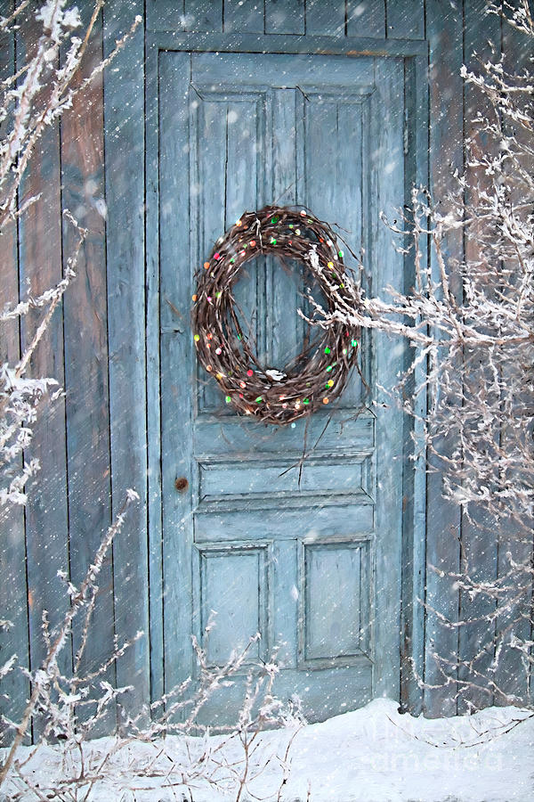 Barn Door And Holiday Wreath/digital Painting Photograph ...