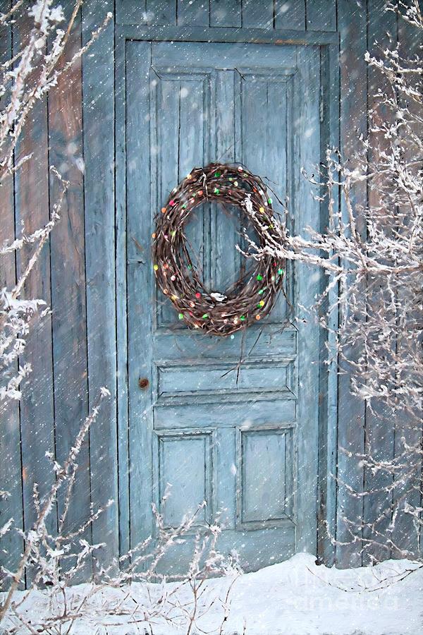 Barn Door And Holiday Wreath Digital Painting Photograph By Sandra