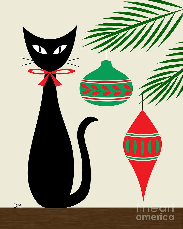 Holiday Cat On Cream Digital Art by Donna Mibus