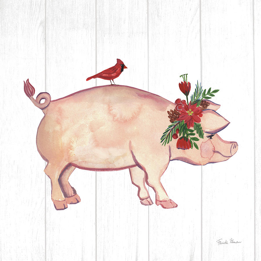 Animals Painting - Holiday Farm Animals I by Farida Zaman